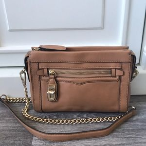 Rebecca Minkoff camel leather crossbody bag purse